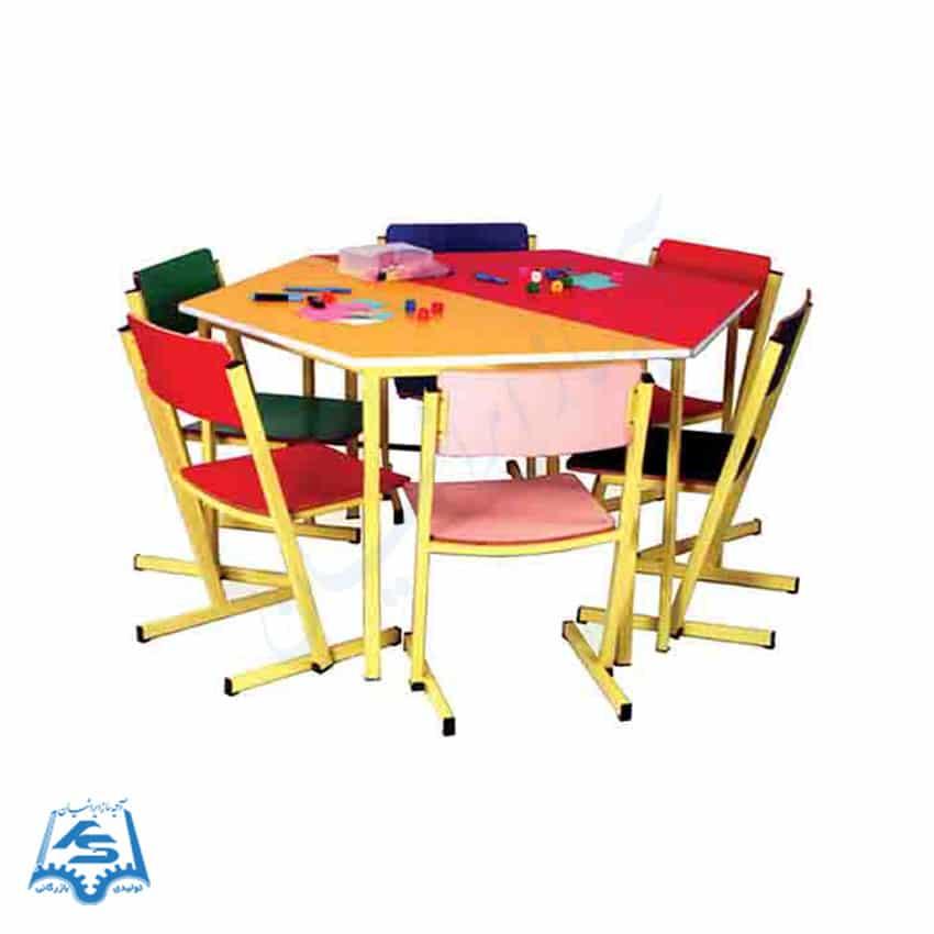میز و صندلی شش ضلعی پیش دبستانی